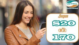 Đăng ký gói S20 Viettel nhận 1.000SMS/tháng