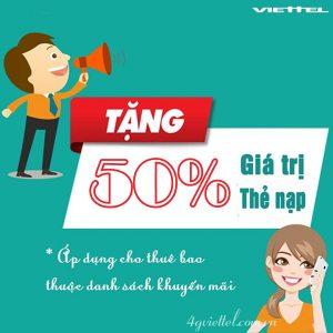 Viettel khuyến mãi 50% giá trị thẻ nạp ngày 9-11/10/2016