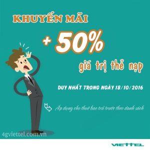 Viettel khuyến mãi 50% giá trị thẻ nạp trong ngày 18/10/2016