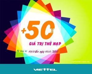 Viettel tặng 50% thẻ nạp khi đăng ký các gói khuyến mãi nội mạng