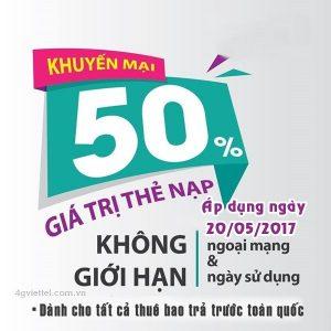 Khuyến mãi 50% thẻ nạp Viettel ngày 20/05/2017 phạm vi toàn quốc