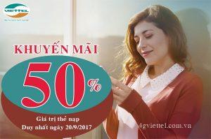 Viettel khuyến mãi 50% thẻ nạp ngày 20/9/2017