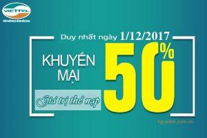 Viettel khuyến mãi 50% thẻ nạp ngày vàng 1/12/2017