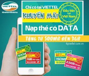 Viettel khuyến mãi nạp thẻ tặng thêm Data mạng Viettel từ ngày 15/12 đến 31/12/2017