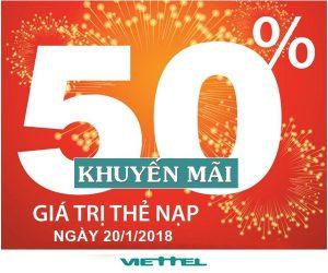 Viettel khuyến mãi 50% thẻ nạp ngày 20/1/2018