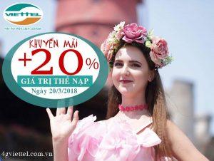 Viettel tặng 20% giá trị thẻ nạp duy nhất ngày 20/3/2018