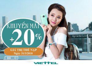 Viettel khuyến mãi 20% thẻ nạp ngày 31/3/2018
