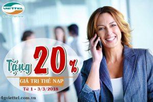 Viettel khuyến mãi 20% giá trị thẻ nạp trong 3 ngày liên tiếp từ 1/3 đến 3/3/2018