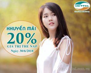 HOT: Viettel khuyến mãi 20% thẻ nạp ngày 30/6/2018