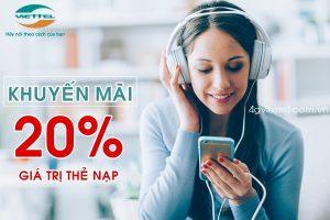HOT: Viettel khuyến mãi 20% thẻ nạp ngày vàng 20/7/2019